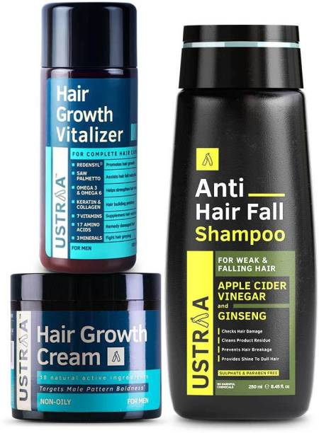 USTRAA Hair Growth Kit (Anti Hairfall Shampoo 250ml, Hair Growth Vitalizer & Cream)
