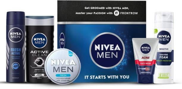 NIVEA MEN Combo, BBD Special, Active Clean Shower Gel 250 ml, Acne  100ml, Fresh Face Moisturizer Gel 30 ml, Fresh Active Deodorant 150 ml, Sensitive Shaving Foam 200 ml, FrontRow Voucher (6 items in the set) Face Wash