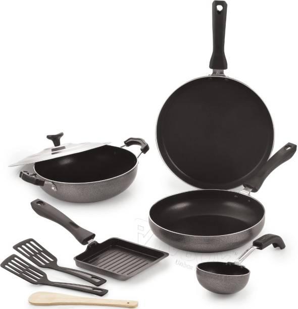 iVBOX ® Max-9 Non Stick Tawa, Kadhai, Frying Pan, Tadaka Pan, Mini Grill Kitchen Cookware Gift Set Cookware Set