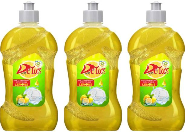 DOTUS DISH WASH CLEANING GEL With Lemon Fragrance, Leaves No Residue, Grease Cleaner For All Utensils, 3 * 500 ML Dish Cleaning Gel