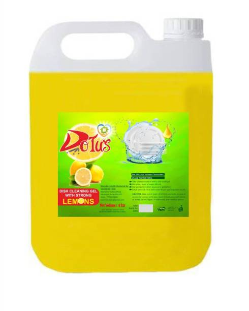 DOTUS DISH WASH CLEANING GEL With Lemon Fragrance, Leaves No Residue, Grease Cleaner For All Utensils, 5 LTR Dish Cleaning Gel