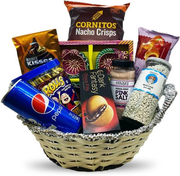 HARIBAS Diwali Hamper   Diwali Gift Hamper Basket   Chocolate, Food, Handcrafted Diya and Diwali Greeting Card Assorted Gift Box