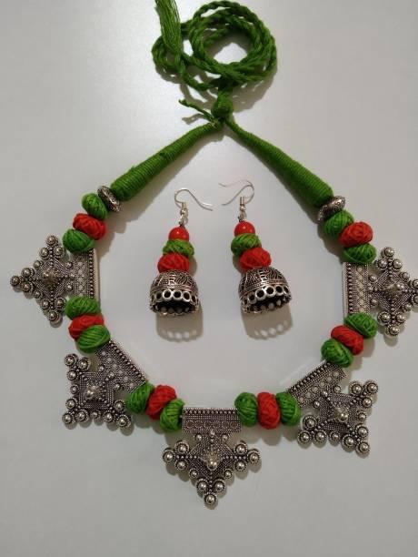 Tehzeeb Oxidised Silver Jewel Set