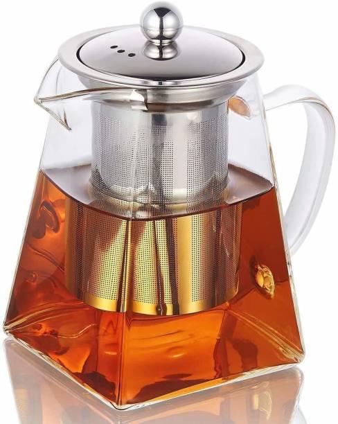 HOMACE 0.55 L Kettle Glass Tea Kettle Heat Resistant Tea Pot with Stainless Steel Infuser Strainer for Coffee Juice Loose Leaf Tea (550 ML) Jug
