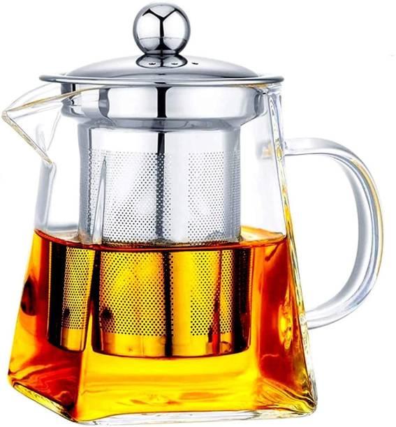 HOMACE 0.011 L Kettle Glass Tea Kettle Heat Resistant Tea Pot with Stainless Steel Infuser Strainer for Coffee Juice Loose Leaf Tea (1100 ML) Jug