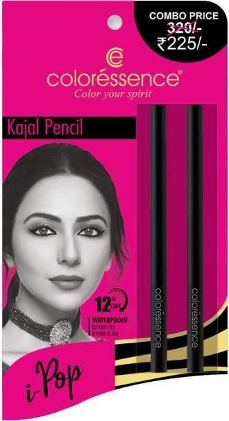 COLORESSENCE Kajal Pencil Combo Waterproof Smudge Proof Long Lasting Mild Roll-on Pencil -