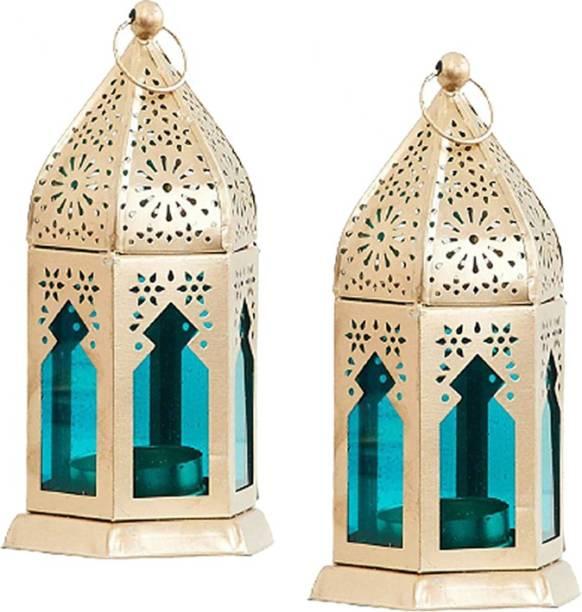 IMRAB CREATIONS Decorative Hanging Lantern/Lamp with t-Light Candle, (Set of 2) Gold Iron Hanging Lantern