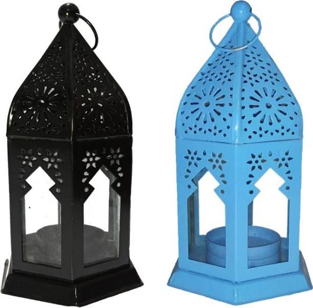 IMRAB CREATIONS Black, Blue Iron Hanging Lantern