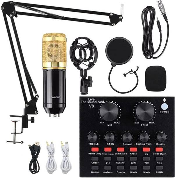 TechBlaze Studio Recording BM-800 Mic Kit with Live Sound Card, Condenser Microphone Adjustable Mic Suspension Scissor Arm, Metal Shock Mount and Double-Layer Pop Filter for Studio Recording,Professional Live Streaming microphone