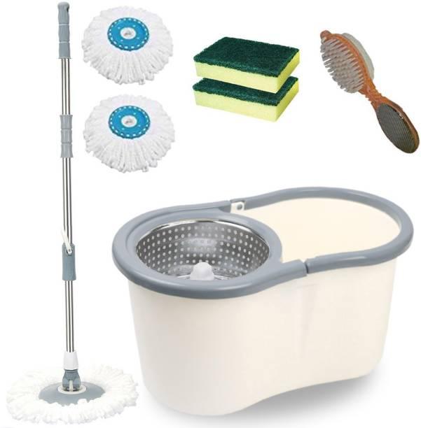 V-MOP Premium White Steel Dry Magic Spin Bucket Mop Set (( 6 Months Warranty on Rod )) -- B-D27 Wet & Dry Mop