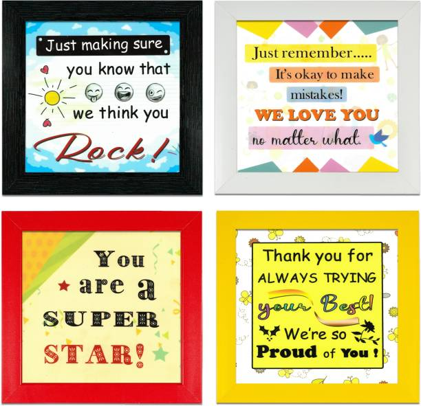 Indianara Set of 4 Kids Room Motivational Quotes Framed Wall Hanging Laminated Paintings Matt Art Prints 9.5 inch x 9.5 inch each without Glass (2520MC) Digital Reprint 19 inch x 19 inch Painting