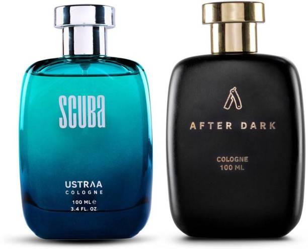 USTRAA After Dark Cologne 100ml & Scuba Cologne 100ml - Perfume for Men Eau de Cologne  -  200 ml