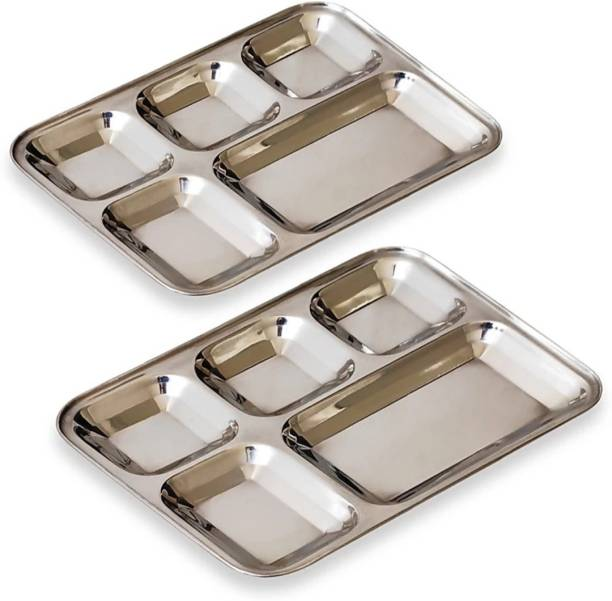 D S BHOJAN THALI SQUARE KATORI STAINLESS STEEL 5 IN 1 HEAVY QUALITY Sectioned Plate