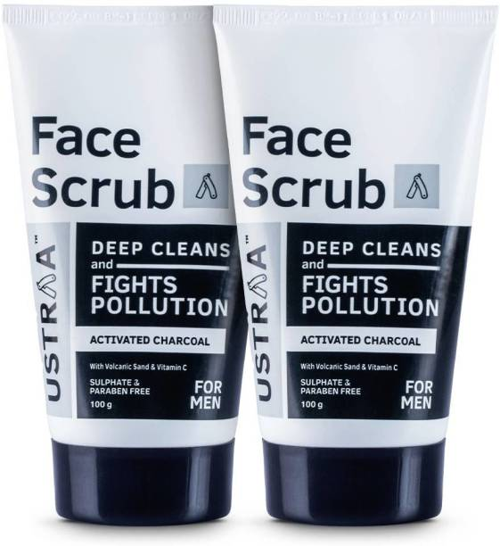 USTRAA Activated Charcoal Face Scrub - 100g (Set of 2) Scrub