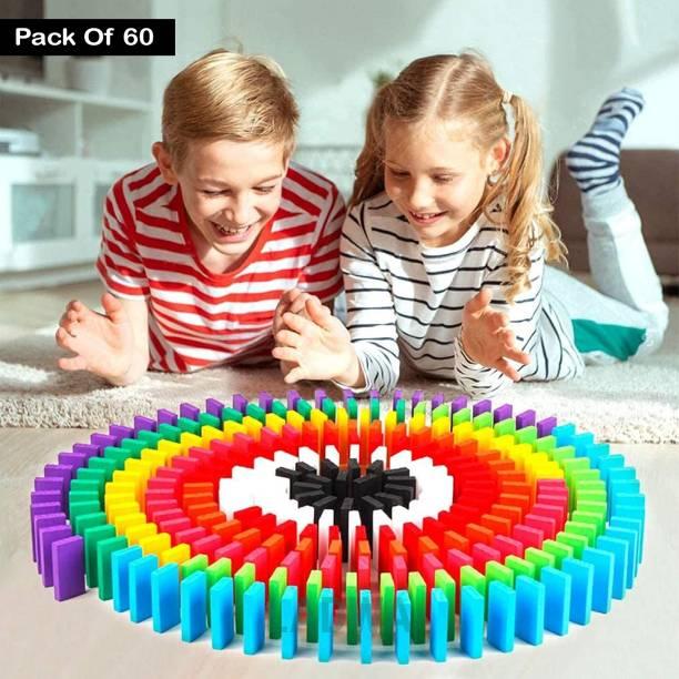 Ladwa 60 Pcs Super Dominos Blocks, 12 Color Bulk Wooden Dominos Blocks Set, Kids Game Educational Play Toy, Domino Racing Toy Game (12 Colors, 5 Dominos Blocks Each Color)