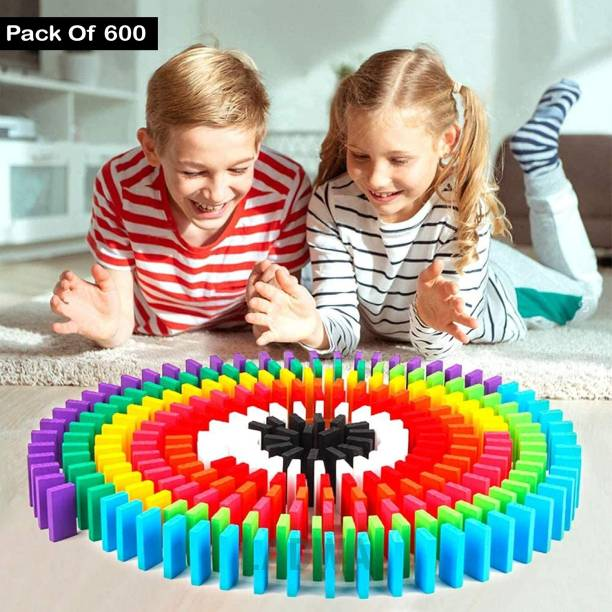 Ladwa 600 pcs 12 Color Wooden Dominos Blocks Set, Kids Game Educational Play Toy, Domino Racing Toy Game