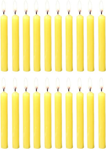 Parkash Candles Chime Candles Set of 20   Ritual Spell Candle   Unscented (Yellow) Candle