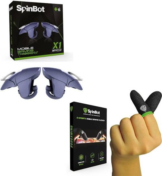 SpinBot Combo Of BattleMods X1Blue Gaming Trigger & Finger Sleeves For BGMI,COD,Free Fire,PUBG Combo Set