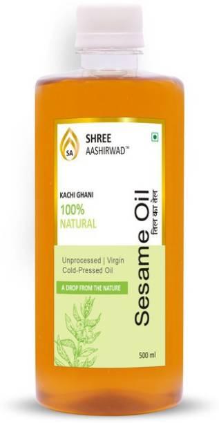SHREE AASHIRWAD Wooden Cold Pressed Sesame / Til Oil (Til Ka Tel) - 500Ml Sesame Oil PET Bottle