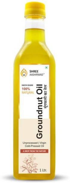 SHREE AASHIRWAD Wooden Cold Pressed Groundnut/Peanut Oil - 1L Groundnut Oil PET Bottle