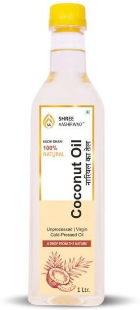 SHREE AASHIRWAD Wooden Cold Pressed Coconut Oil - 1L Coconut Oil PET Bottle