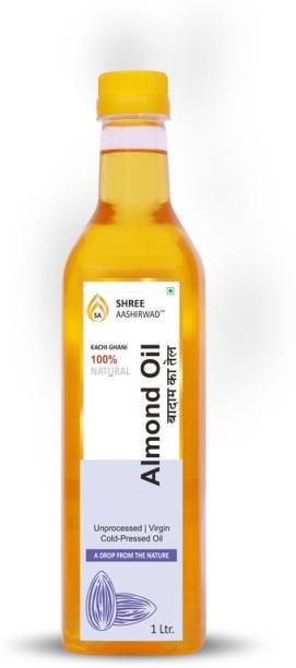SHREE AASHIRWAD Wooden Cold Pressed Sweet Almond Oil - 1L Almond Oil PET Bottle
