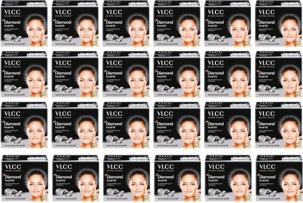 VLCC Party Glow Diamond Facial Kit (6 Items in single box) - Pack of 24 (60 GM X 24) For Skin Polishing and Purification
