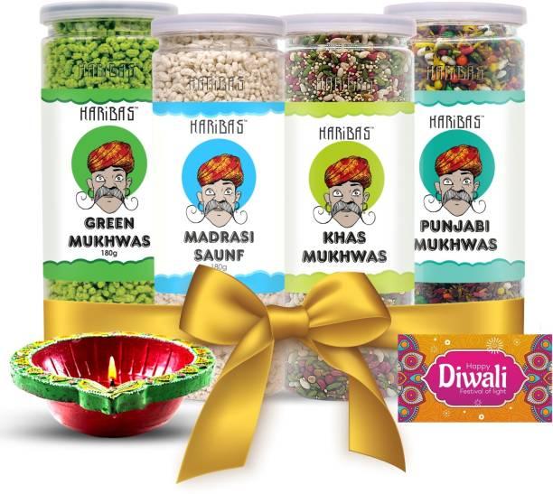 HARIBAS Diwali Hamper   Diwali Gift Hamper   Mukhwas, Mouth Freshner, Handcrafted Diya and Diwali Greeting Card Assorted Gift Box