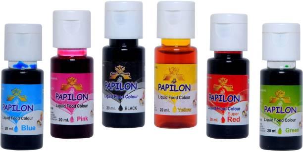PAPILON 6 Shades Of Liquid Food Color (20 Ml X 6 Bottle) Multicolor