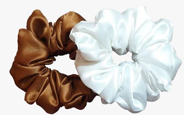 BLOOMTAIL Satin Silk Hair Scrunchies Medium Hair Tie Elastic Hair Bands Set of 2 pcs Rubber Band