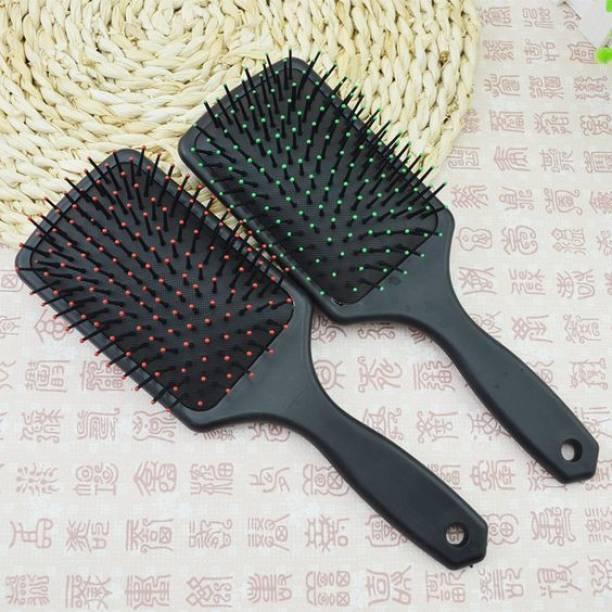 SANDIP Rectangular Cushion Paddle Hair Brush Large Paddle Cushion Hair Brush for Blow-Drying & Detangling - Comfortable Styling, Straightening & Smoothing-pack of 2
