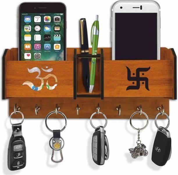 Akshita crafts Wooden 2 Pocket Pen Stand 8 Hook Brown Wood Key Holder Wood Key Holder