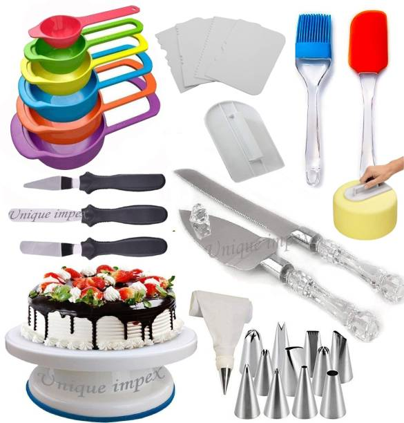 Unique Impex Cake Making Tools Combo 6 in 1 Easy Rotate Cake Turntable + Cake Smoother + 6 Pcs Multi-Color Measuring Spoon + Silicone Spatula and Brush Set + 4 Pcs Scraper set + 12 Piece Cake Decorating Set with Piping Bag + 3 Pcs Multi-Function Stainless Steel Cake Icing Spatula Knife Set+ Stainless Steel Cake Knife and Server Set with Acrylic Handle (All Product Reusable & Washable) Multicolor Kitchen Tool Set
