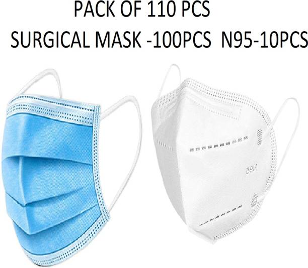 MediCos 110Pcs Combo ( 100 +10)pcs 100pcs Pharmaceutical Mask with nose pin 3 layered / 3 ply with Meltblown layer in middle , Surgical Face mask 100% certified anti pollution - anti viral Mask with Nose-pin and soft Ear-loops and 10pcs N95 5 Layer Reusable Anti - Pollution Breathable Face Mask ( White ) for Men , Women and Kids combo mask Surgical Mask With Melt Blown Fabric Layer