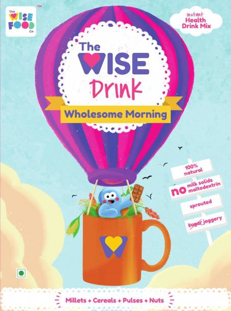The Wise Food Co Wholesome Morning   Instant Health Drink Mix   Millets + Cereals + Pulses + Nuts   Suitable for Kids and Adults   No Milk Solids   No Chemicals   No Refined Sugar