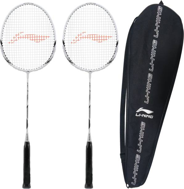 LI-NING XP-90-IV ( strung ) - Pack of 2 With 1 full cover White, Silver Strung Badminton Racquet