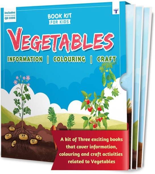 Vegetable Book For Kids | First Learning Book Kit For Kids | Vegetable Book Kit For Crafts, Colouring And Information | Sticker Activity For Toddlers | Ideal Learning Gift For Kids