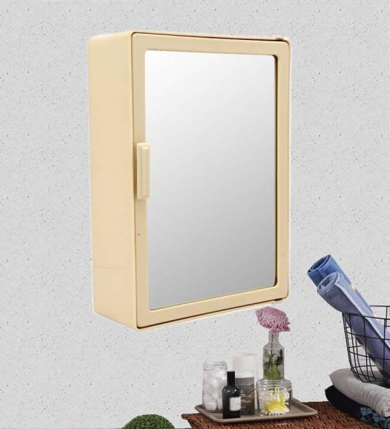 Zahab Style Ivory Single Door Mirror Bathroom Cabinet 10x14 inches Shelf Bracket