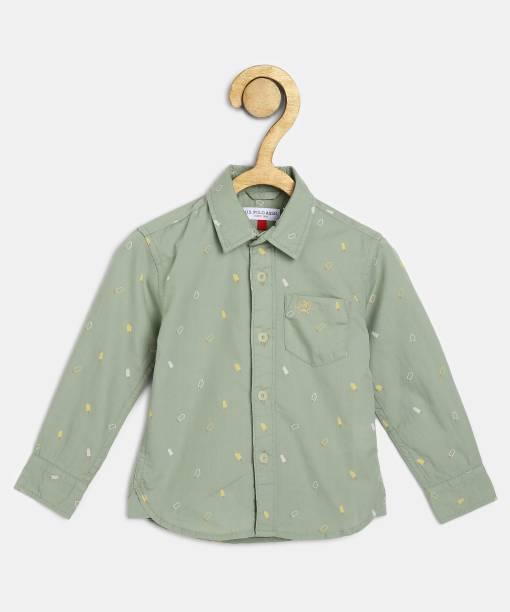 US Polo Kids Boys Printed Casual Green Shirt