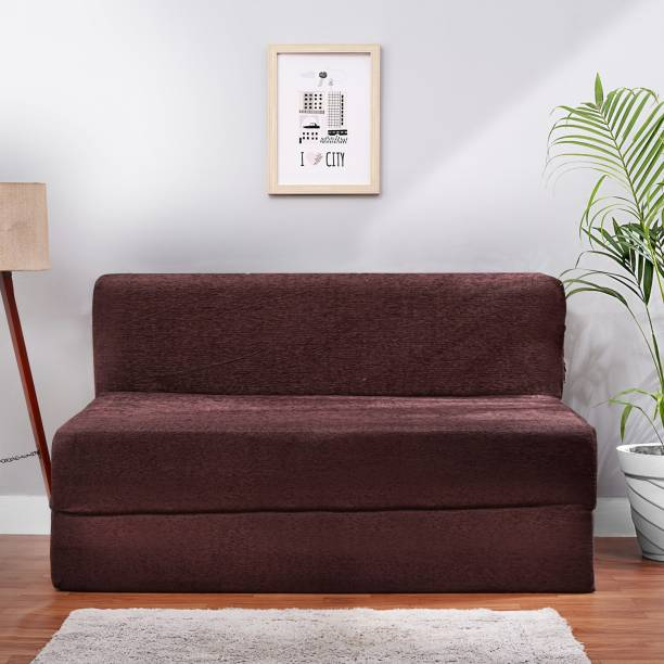 Solis Primus-comfort for all 4X6 size Sofa cum Bed for 2 Person- 2 Seater MOLFINO Fabric Washable Cover - COFFEE Double Sofa Bed