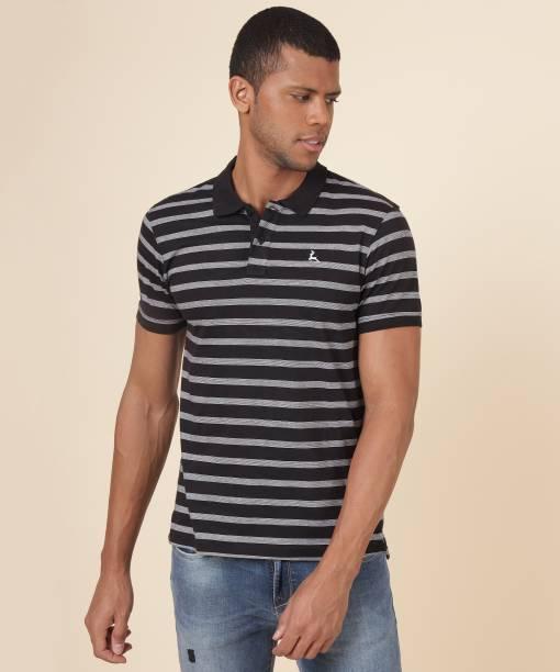 PARX Striped Men Polo Neck Black T-Shirt