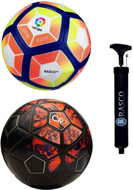 RASCO CR7 RED AND 12 PANEL LELIGA PITCH WITH PUMP Football - Size: 5