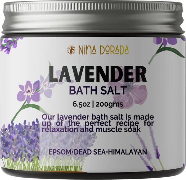 nina dorada Lavender Bath Salt   Epsom Salt   Himalayan Salt   Dead Sea Salt   Lavender Buds   Stress Relief   200gms   men and Women