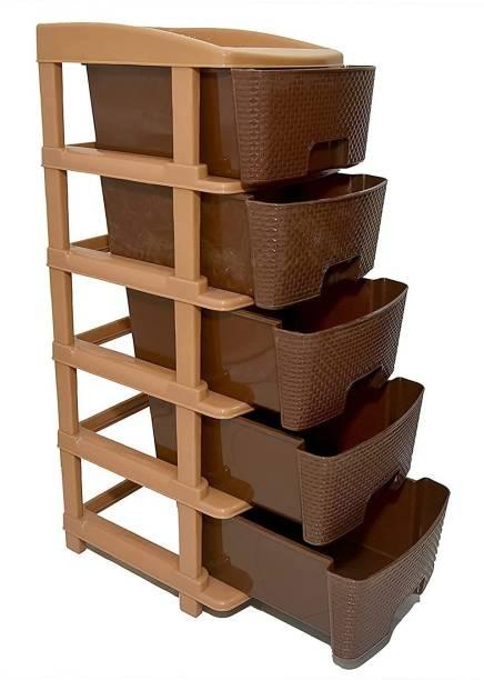 COROFFY COROFFY Mopik Plastic 5 Layer Foldable Modular Drawer Organizer Multipurpose Drawers Boxes Storage Rack, Extra Large Basket, (Brown Color, Standard) Plastic Free Standing Cabinet
