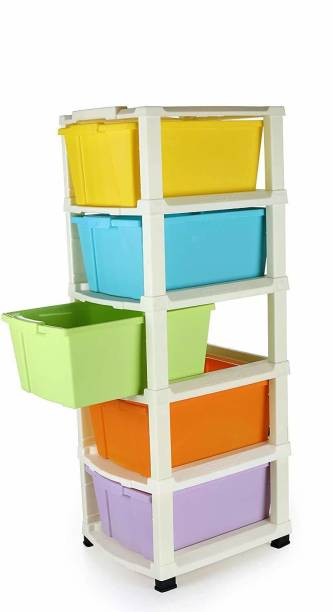 COROFFY COOFFY 5 Drawer Plastic Modular Drawer System for Home, Office, Hospital, Parlor, School, Doctors, Home and Kids(Multicolor,5XL,31cmx39cmx98 cm) Plastic Free Standing Chest of Drawers