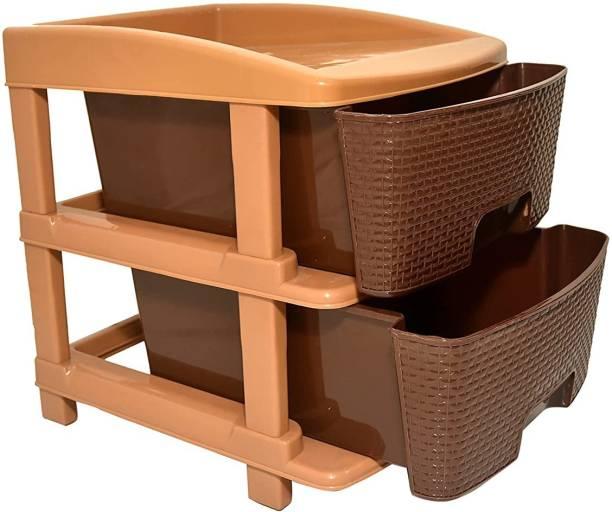 COROFFY COROFFY 2 Layer Plastic Foldable Modular Basket Drawer Chest Anti-Slip Large Stomo Multi Purpose Storage Box (2 Drawer -Multicolor) Plastic Free Standing Chest of Drawers