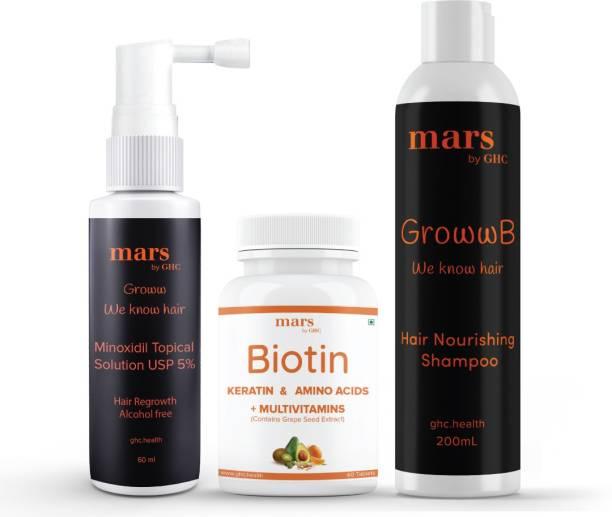mars by GHC Complete Beard Growth Combo | 5% Solution for Beard Growth [60ml] + Beard Wash Shampoo (Natural Extracts) [200ml] + Biotin Hair Vitamins [60 Veg Tab] | For Fast Beard Growth, Stronger and Shinier Beard