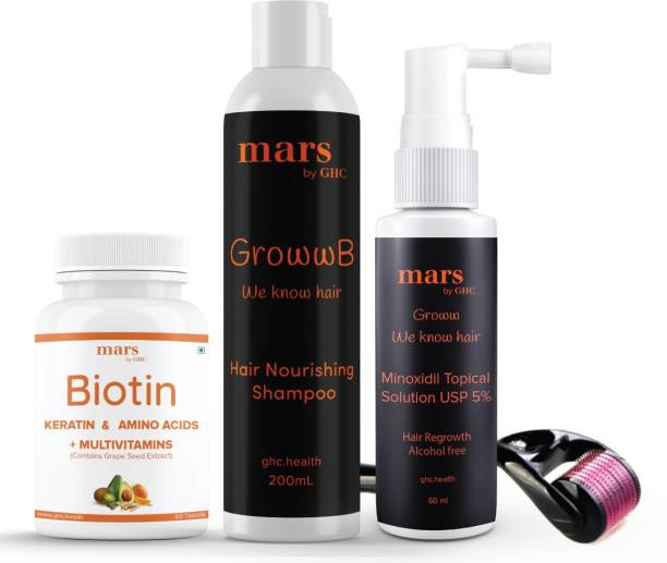 mars by GHC Complete Beard Care Pack   Beard Growth Serum [60ml] + Beard Wash Shampoo [200ml] + Biotin Vitamin [60tab] + Beard Activator (Derma Roller)   Thick & Frizz-Free Beard Growth (Set of 4)