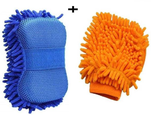 HomeGini Multipurpose Microfiber Wet & Dry Cleaning Washing Sponge with Microfiber Glove Wet and Dry Duster