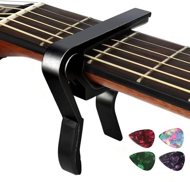 TechBlaze Guitar Capo for Acoustic Guitars Metal Alloy Capotastos One Handed Trigger Guitar Capo with free Picks for Acoustic Guitar, Electric and Ukulele Capo, Capo and Picks Combo Clutch Guitar Capo